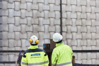 Strängbetong levererar flätade betongelement till den nya byggnaden som ligger ett tiotal meter från Nationalmuseet.