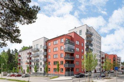 Kvarteret Stansen med matrisgjutna fasader ocg stomme från Strängbetong