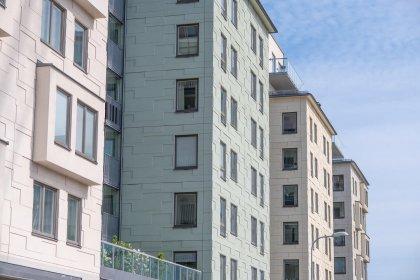 Projektet Charlottenbrg i Solna med matrisgjuten fasad och stomme från Strängbetong