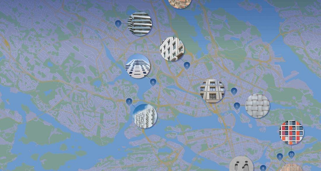 Karta över Strängbetong projekt i Stockholm med fina fasadytor.