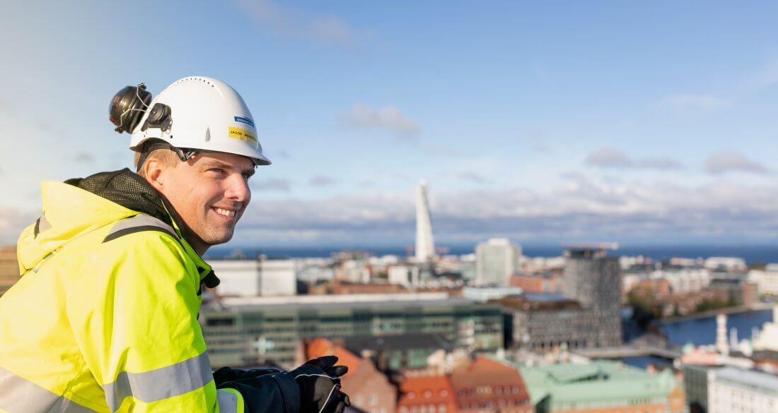 Strängbetongs projektledare Jacob Wennergren är på Malmö Living